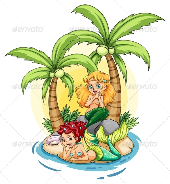 GraphicRiver Island with two mermaids 7869854
