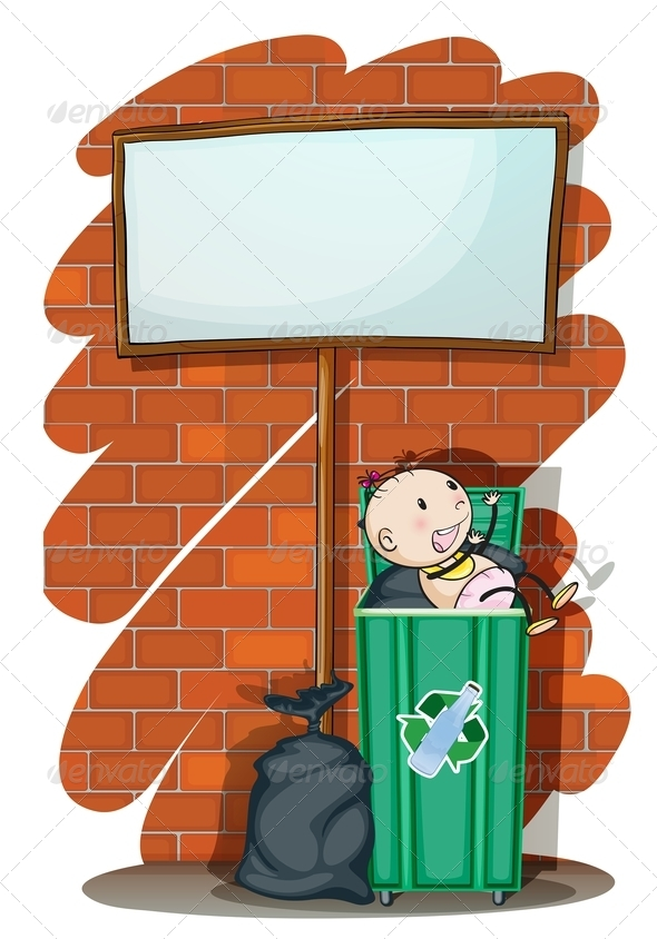 GraphicRiver Empty Sign with Baby in Trashcan 7869867