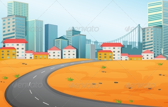 GraphicRiver Narrow road to the city 7869871