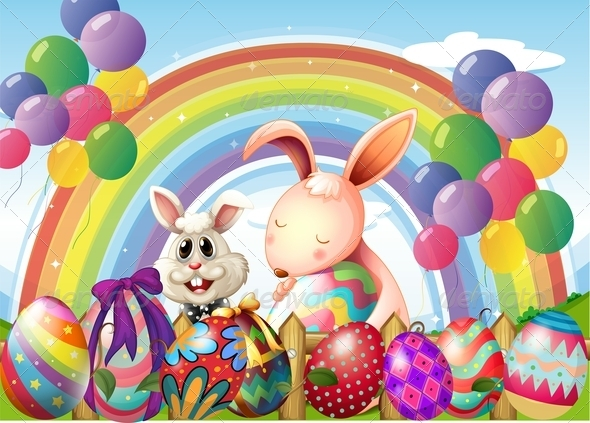 GraphicRiver Bunnies and Colorful Eggs with Rainbow 7869883