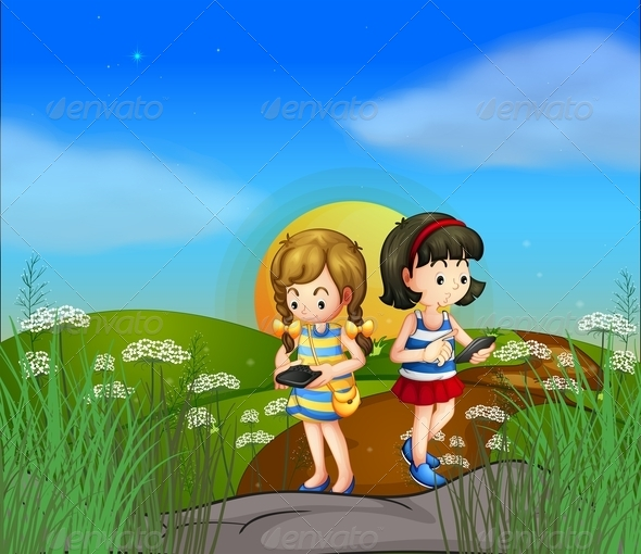 GraphicRiver Two girls using their cellphones 7869893