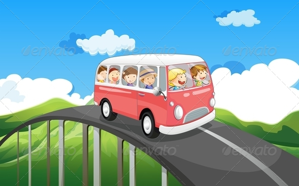 GraphicRiver School bus with kids 7870000