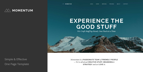 ThemeForest Momentum Simple Creative One Page Template 7860637