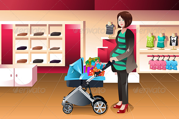GraphicRiver Pregnant Woman Pushing a Stroller Full of Presents 7871172