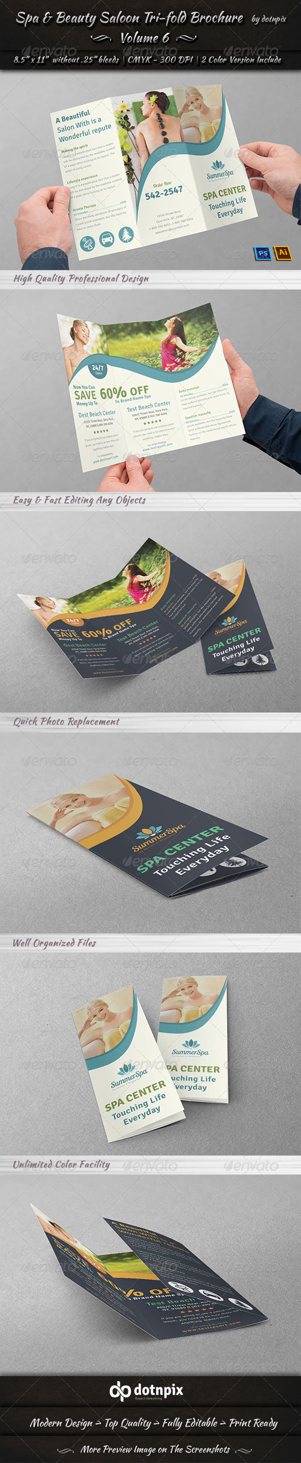 GraphicRiver Spa & Beauty Saloon Tri-fold Brochure Volume 6 7871625