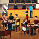 Young People Eating Pizza Together in a Restaurant - GraphicRiver Item for Sale
