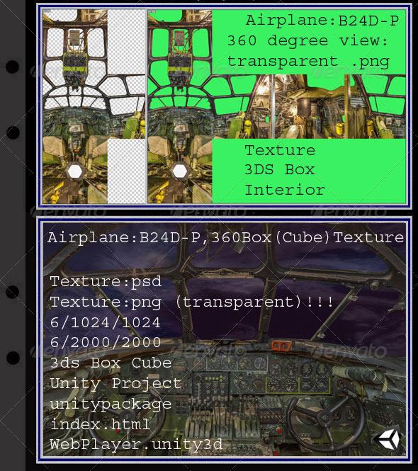 3DOcean Airplane B24D-P interior 7873087