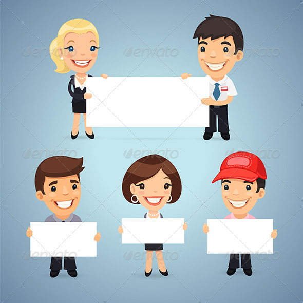 GraphicRiver Managers with Blank Placards 7871355