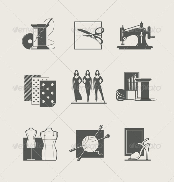 GraphicRiver Sewing Set of Icons 7873922
