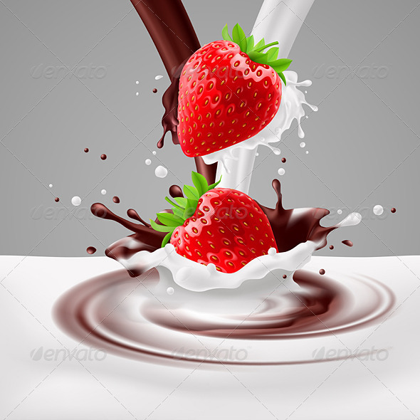 GraphicRiver Strawberries with Milk and Chocolate 7874039