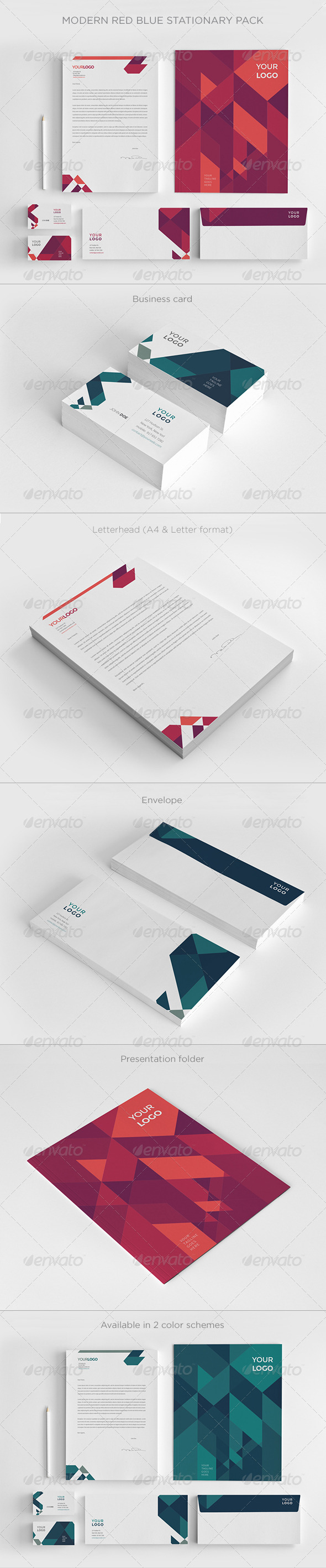 GraphicRiver Modern Red Blue Stationery 7875905
