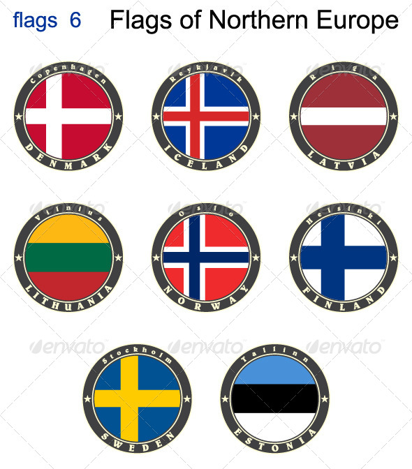 GraphicRiver Flags of North Europe 7875999