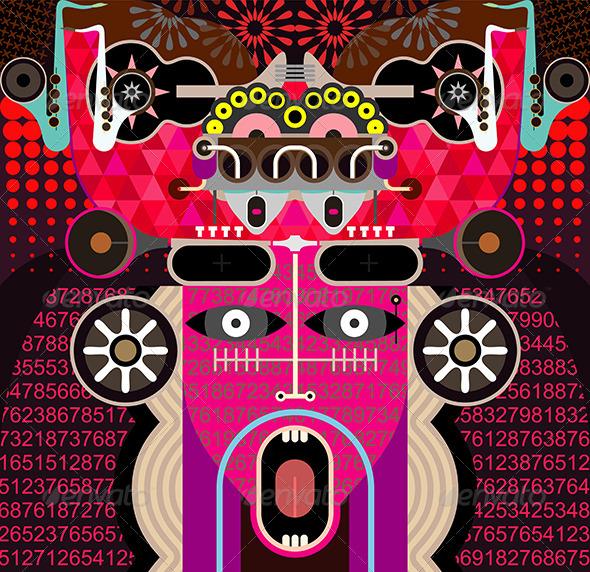 GraphicRiver Shouting Man Portrait Vector Illustration 7876021