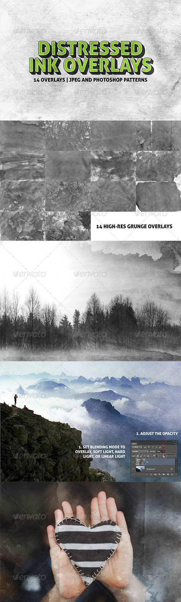 GraphicRiver 14 Distressed Ink Overlays 7876843