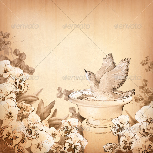 GraphicRiver Pencil Drawing Bird in Bath and Flowers 7873820