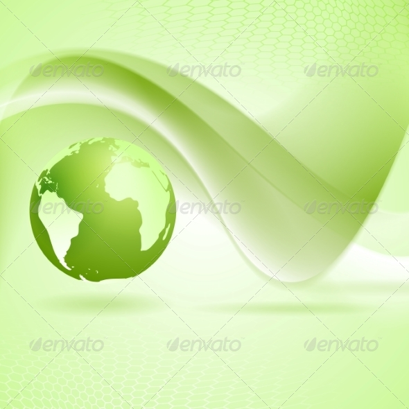 GraphicRiver Tech Wavy Green Background 7879133