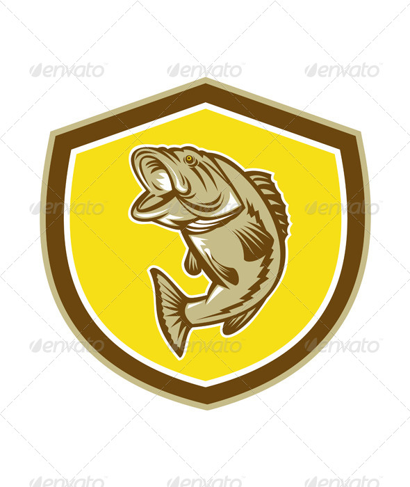 GraphicRiver Largemouth Bass Jumping Retro Shield 7879298