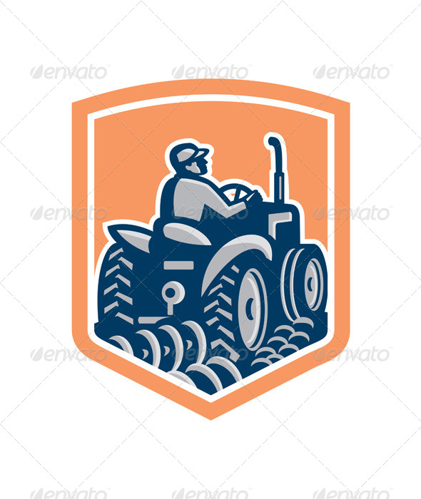GraphicRiver Farmer Driving Tractor Plowing Farm Retro Shield 7879407
