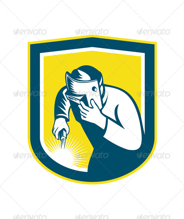 GraphicRiver Welder Holding Welding Torch Mask Retro Shield 7879451