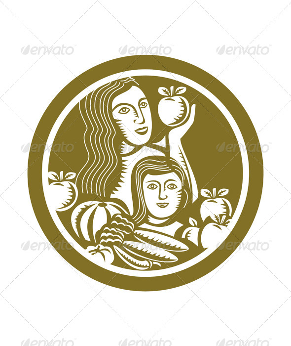 GraphicRiver Woman and Child Holding Fruits and Vegetables 7879505