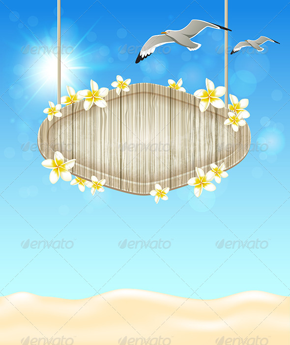 GraphicRiver Blue Marine Background with Seagulls 7880757