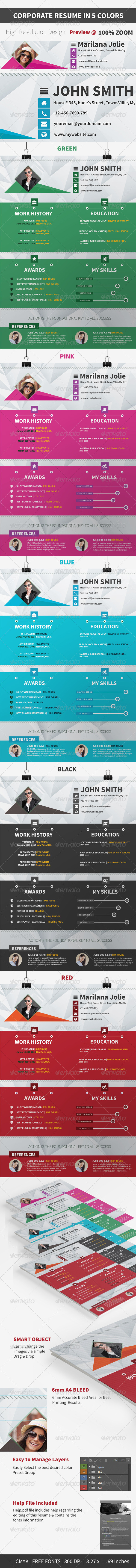GraphicRiver Resume & Cover Letter in 5 Colors 7874653