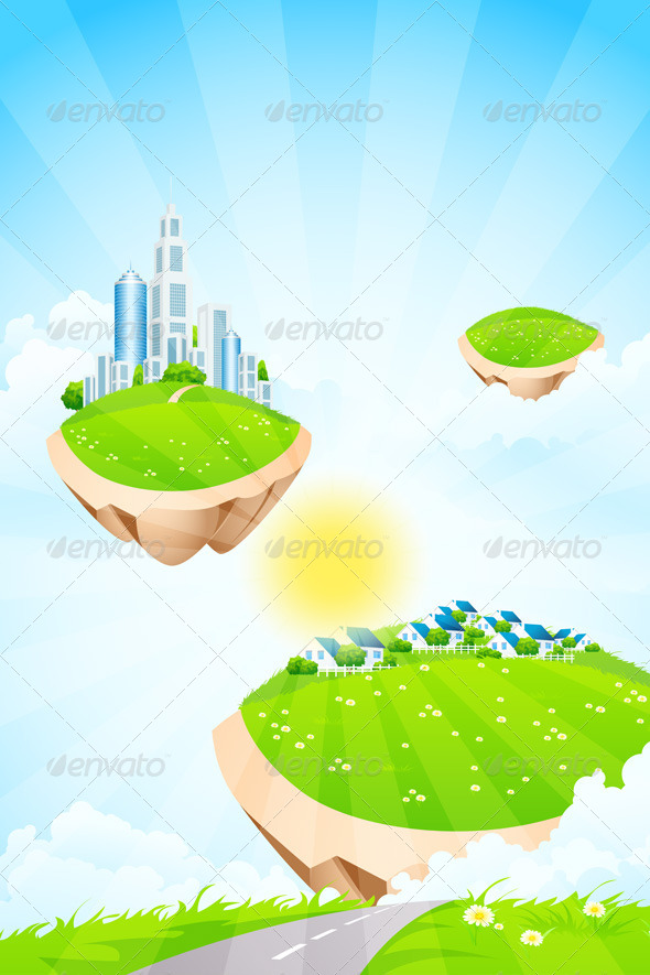 GraphicRiver Business City on Island 7882313