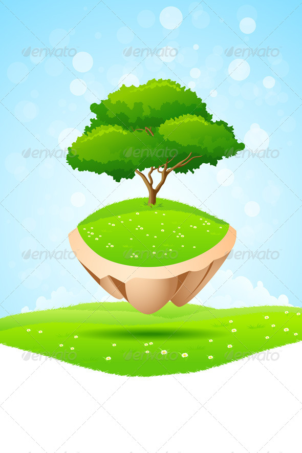 GraphicRiver Green Tree on Island 7882331