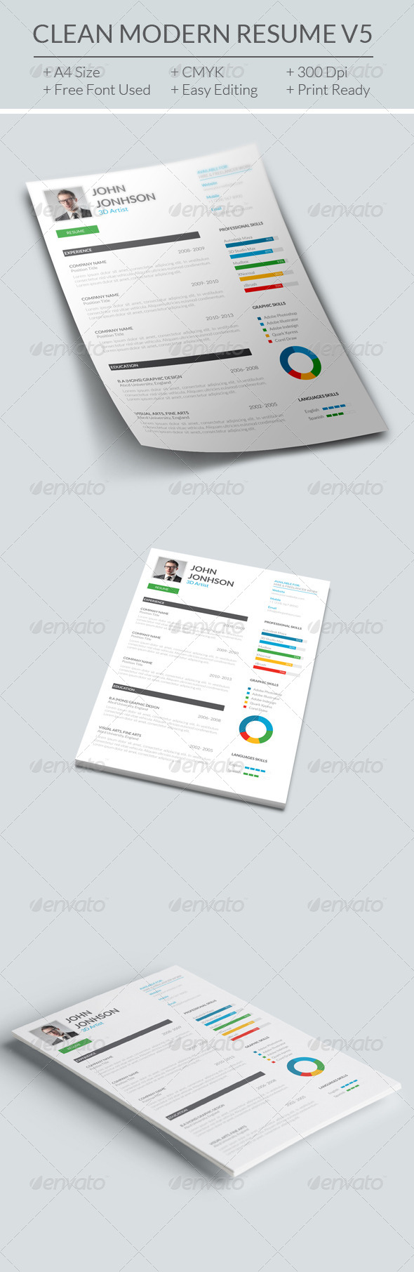 GraphicRiver Clean Modern Resume V5 7883504