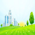 Green Landscape with City - PhotoDune Item for Sale