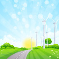 Green Landscape with Wind Power Station Trees and Road - PhotoDune Item for Sale