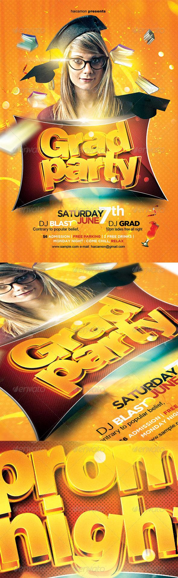 GraphicRiver Grad Party Flyer 7887802