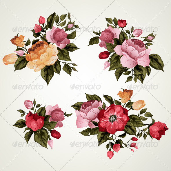 GraphicRiver Set of Bouquets of Roses 7887992