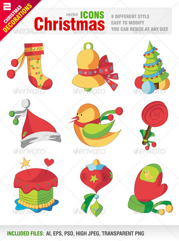 GraphicRiver Christmas Icons 805672