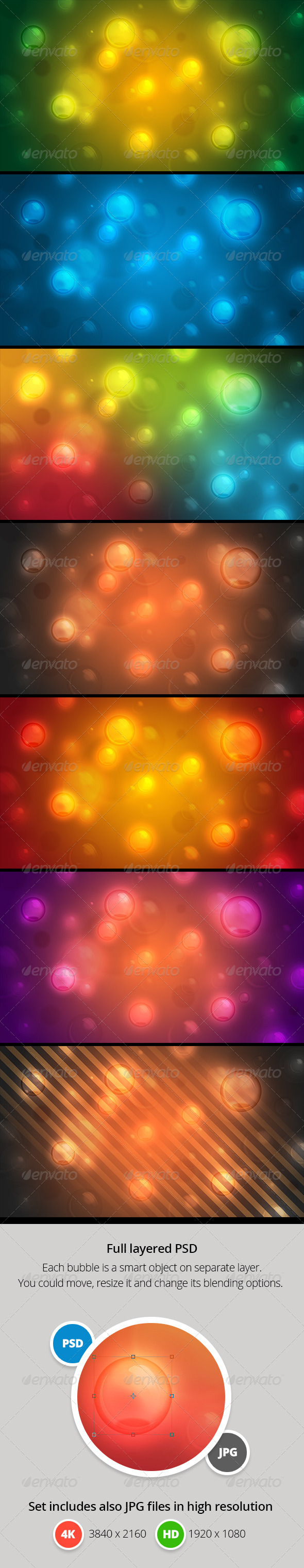 GraphicRiver Bubbles Set of Abstract Website Backgrounds 4K 7888222
