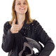 Female motorcyclist showing thumb up - PhotoDune Item for Sale