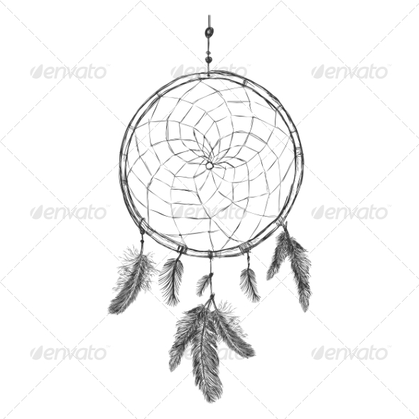 GraphicRiver Sketch of Indian Mascot Dream Catcher 7888658