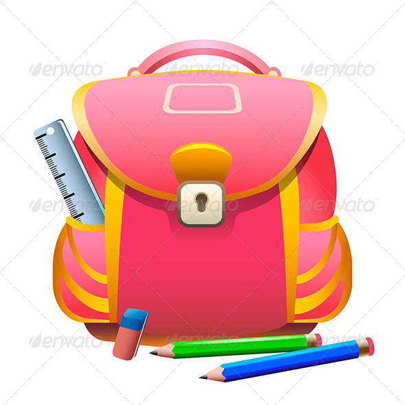 GraphicRiver School Bag and Pencils 7888681