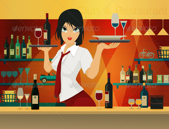 GraphicRiver Female Bartender 7888908