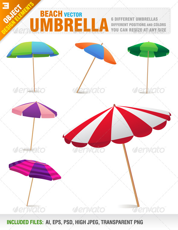 GraphicRiver Beach Parasol Set 7890497