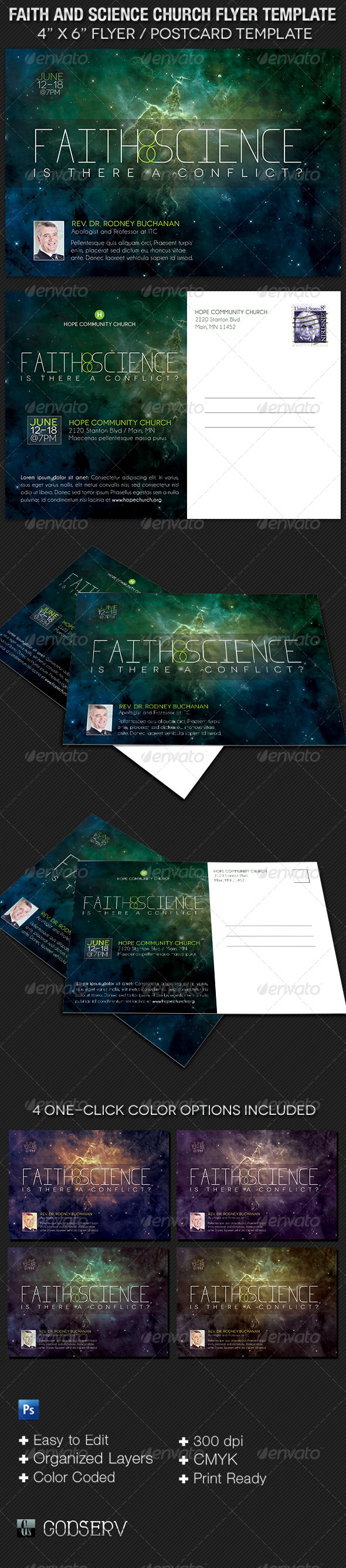 GraphicRiver Faith and Science Church Flyer Template 7890612
