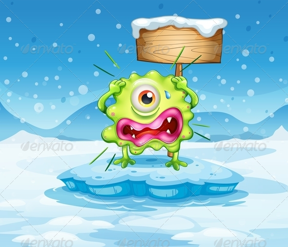 GraphicRiver Scared monster and empty sign in frozen land 7891674