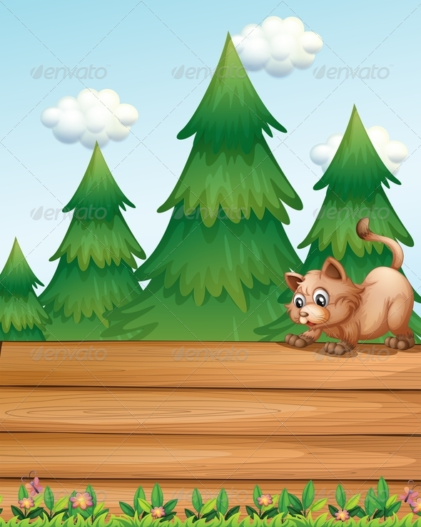 GraphicRiver Cat on empty wooden boards 7891803