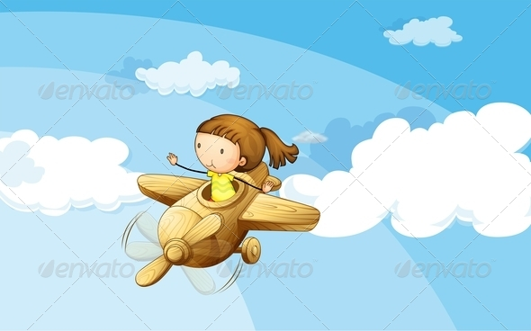 GraphicRiver Girl in Wooden Plane 7891851