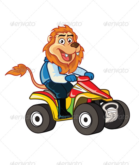 GraphicRiver Lion Riding 4 Wheel Motorcycle 7891885