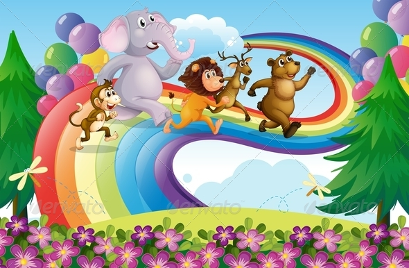 GraphicRiver Animals Running up a Rainbow 7891900