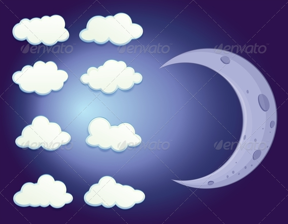 GraphicRiver Sky with Clouds and Moon 7892349
