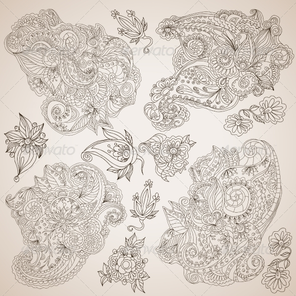 GraphicRiver Ornamental Decorative Elements Set 7893201