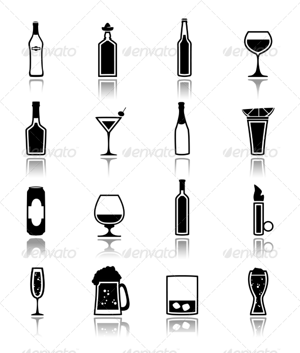 GraphicRiver Alcohol Icons Black 7893238