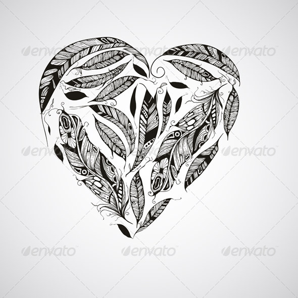 GraphicRiver Heart Made of Feathers 7893517